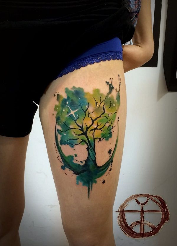 Colorful oak tree tattoo on left thigh for Colorful thigh tattoos