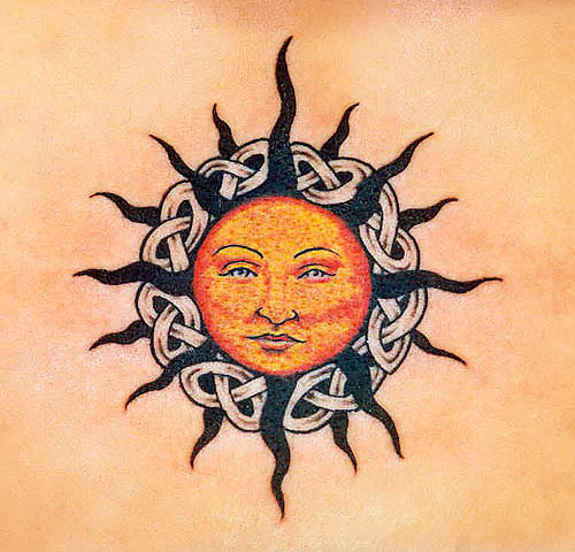 55 celtic sun tattoos designs and pictures with meanings for Sun tattoos pictures