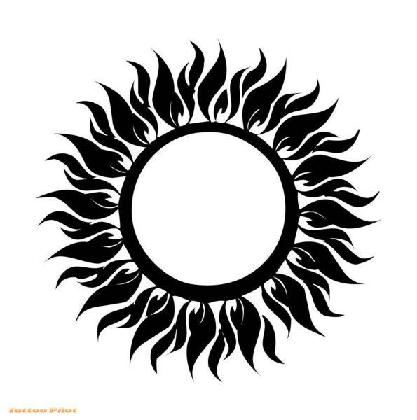 cool tribal sun tattoo design. Black Bedroom Furniture Sets. Home Design Ideas