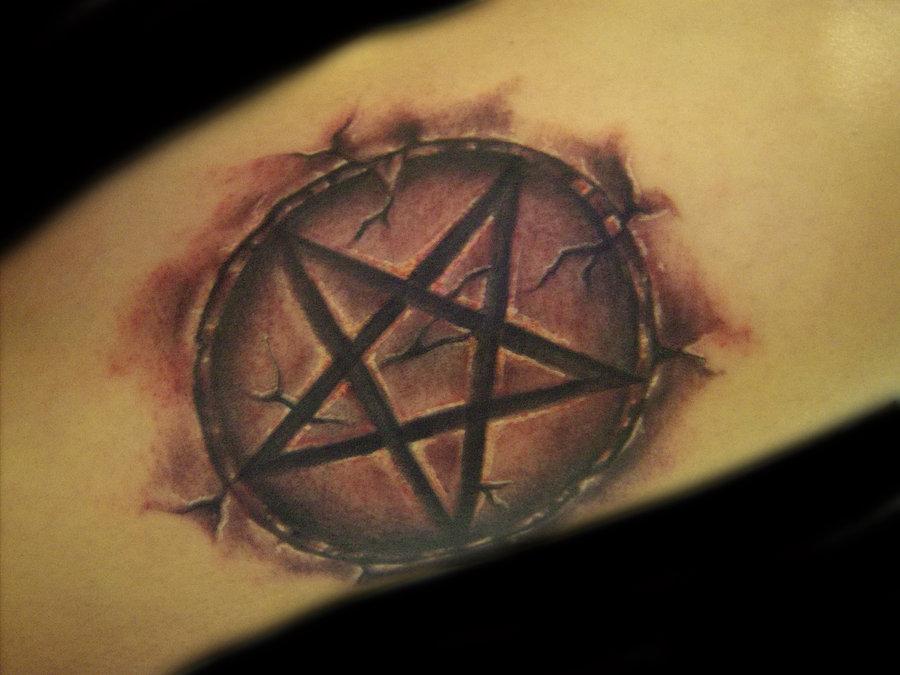 Cracked Skin Pentagram Star Tattoo On Arm Sleeve
