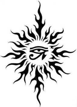 Egyptian Eye In Tribal Sun Tattoo Design