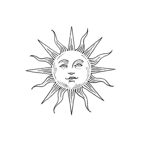 Face In Sun Tattoo Design