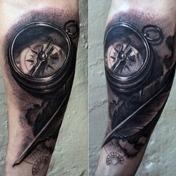 Feather and compass tattoo on arm sleeve for Feather arm tattoo designs