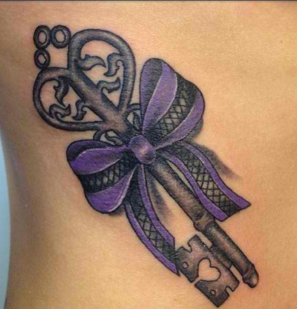 feminine lock key and purple bow tattoo on side rib. Black Bedroom Furniture Sets. Home Design Ideas