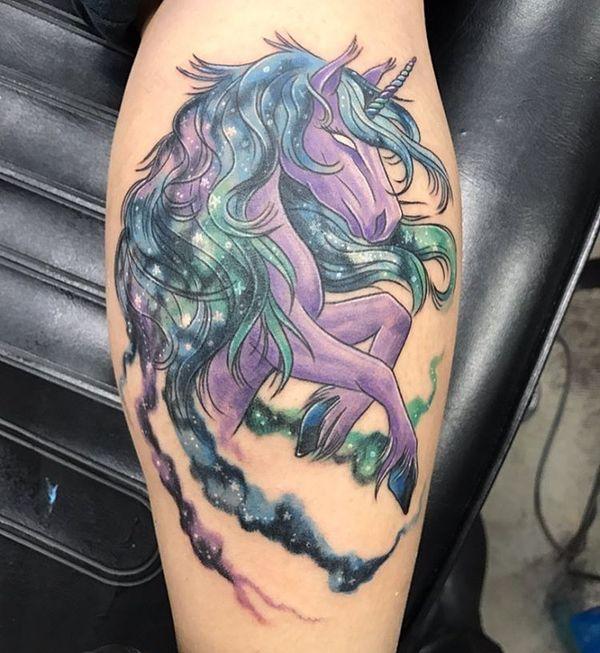 feminine unicorn tattoo on back leg. Black Bedroom Furniture Sets. Home Design Ideas