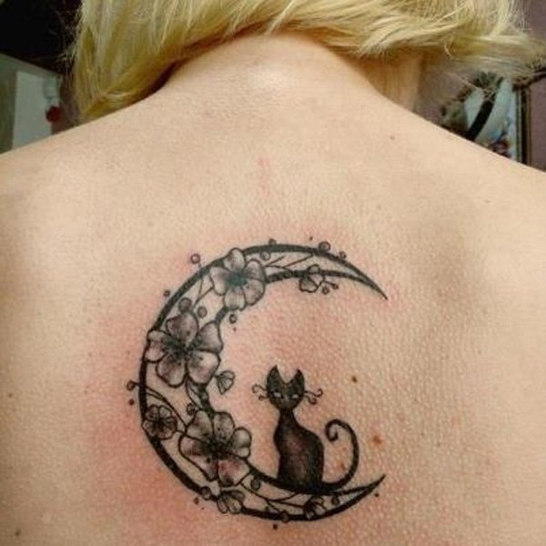 Floral Moon And Black Cat Tattoo On Upper Back