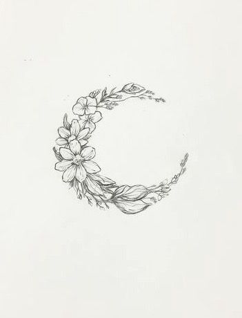 Floral Moon Tattoo Design Sample
