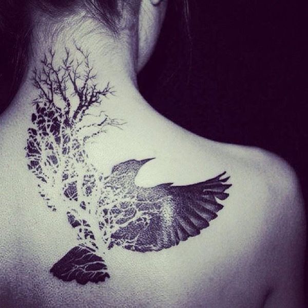 Flying Bird And Tree Of Life Tattoo On Girl Back