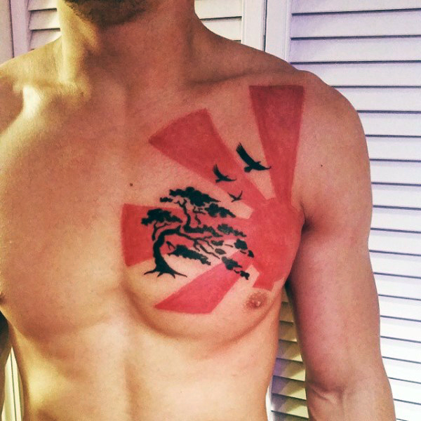 Flying Birds And Black tree Tattoo On Man Chest
