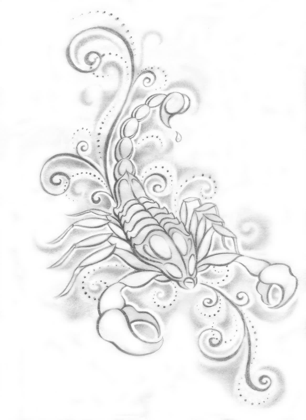 Girly Scorpion Tattoo Design