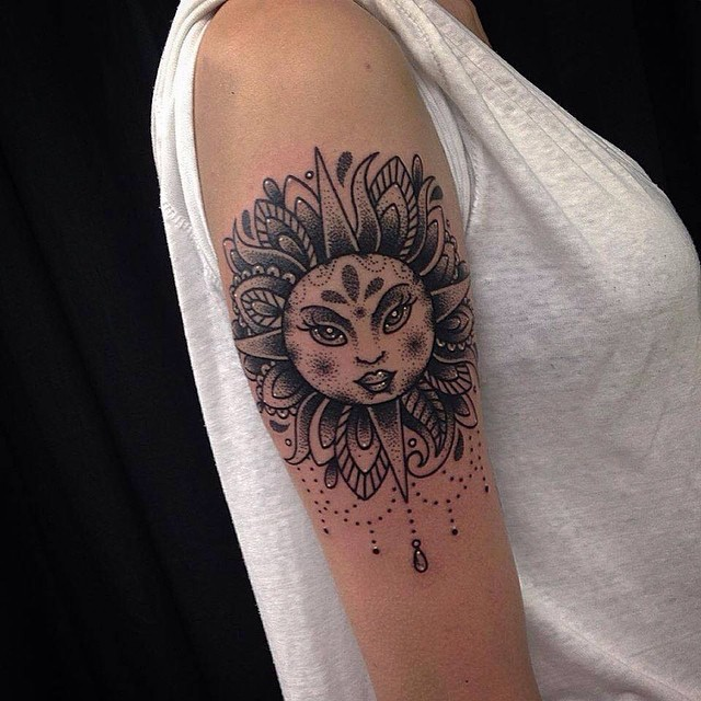 Grey And Black Cute Sun Tattoo On Right Bicep