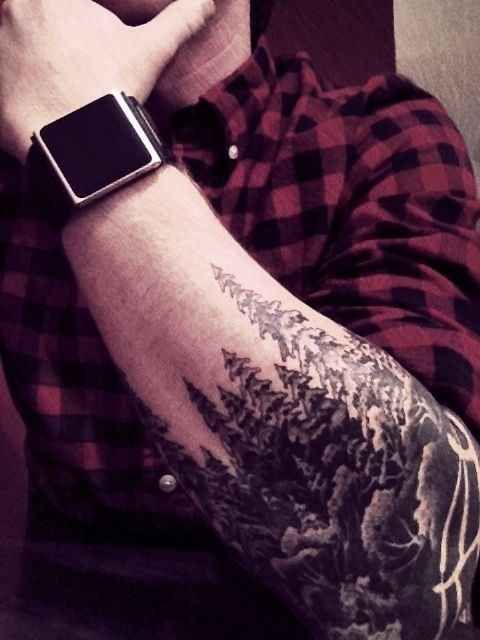 Grey And Black Tree Tattoos On Elbow
