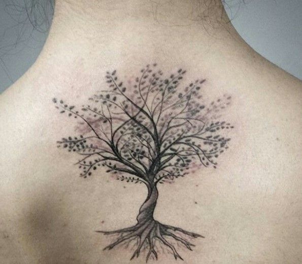 Grey ink ash tree tattoo on upper back for Ashes in tattoo ink
