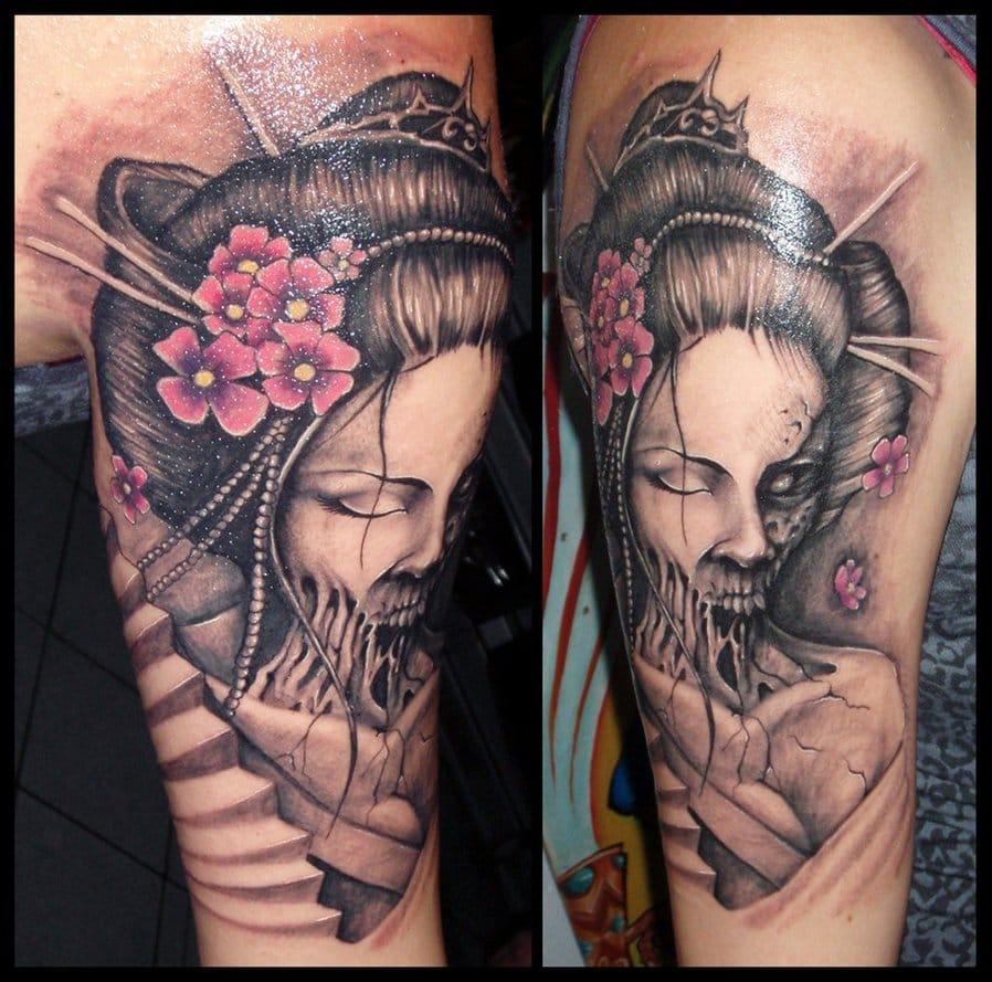 Geisha tattoo elegant geisha tattoo picture - Grey Ink Geisha Tattoo On Arm Sleeve