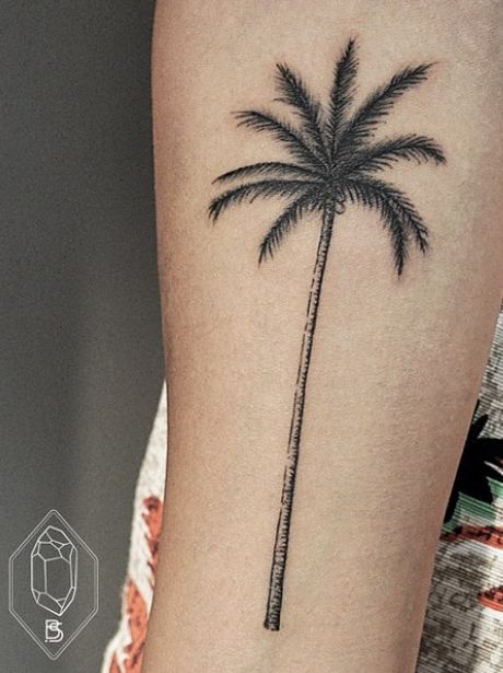 Grey ink palm tree tattoo on forearm for Palm tree ankle tattoo