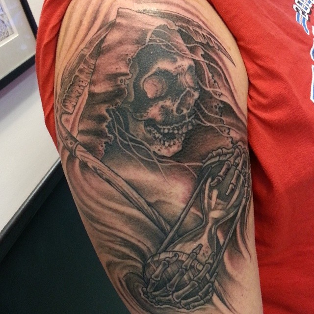 99f9955a25c2a Grim Reaper Skeleton With Hourglass Tattoo On Half Sleeve