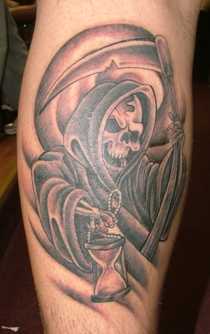 1c4b52fd48a1e Grim Reaper With Hourglass In Hand Tattoo On Back Leg
