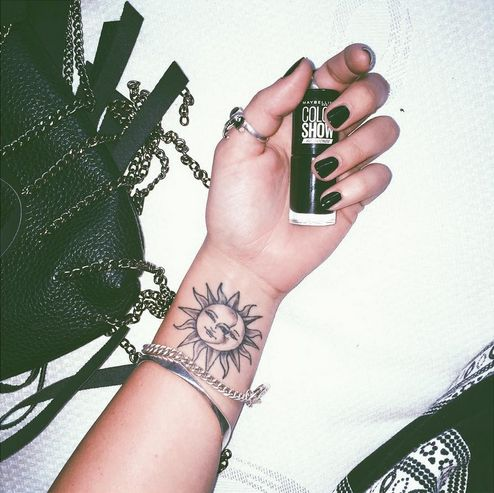 52 small sun tattoos designs and ideas for Half moon and star tattoo