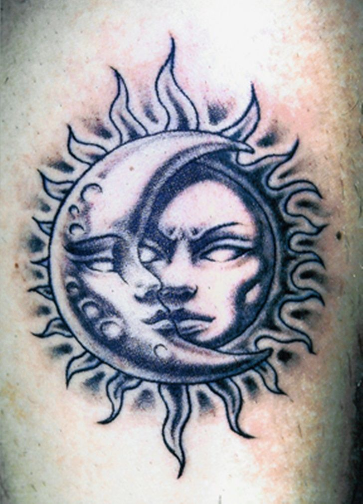 58 sun and moon tattoos ideas with meanings for Half moon and star tattoo