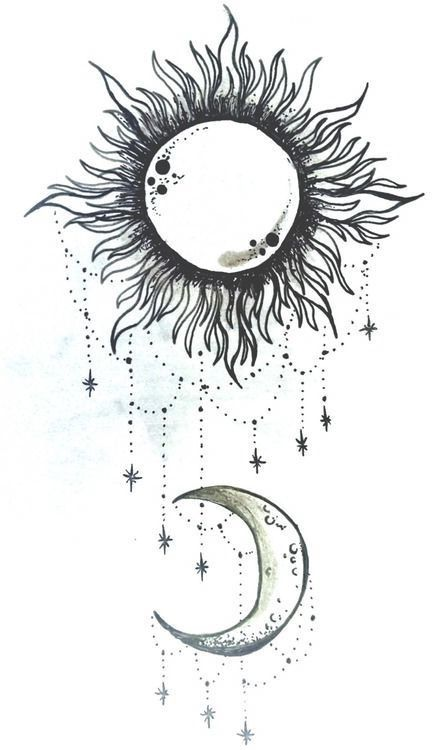 Hanging Jewels On Moon And Sun Tattoo Design