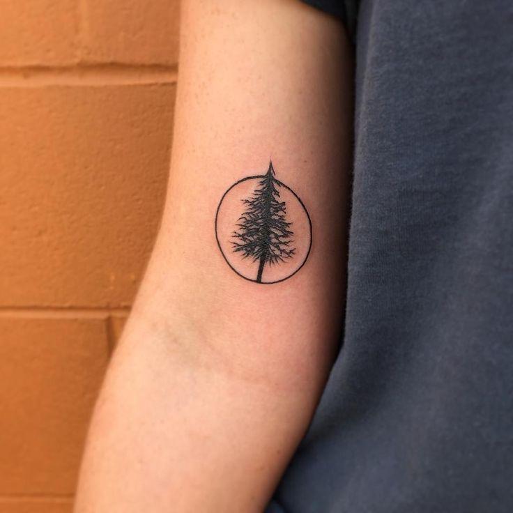 92779e21c Inner Bicep Pine Tree Tattoo Idea
