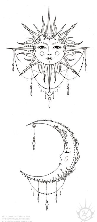 Jewel Hanging Moon And Sun Tattoo Design