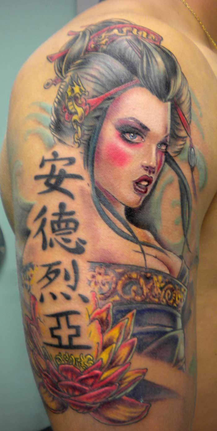 6e8c164b2a261 Kanji Symbols And Geisha Tattoo On Half Sleeve