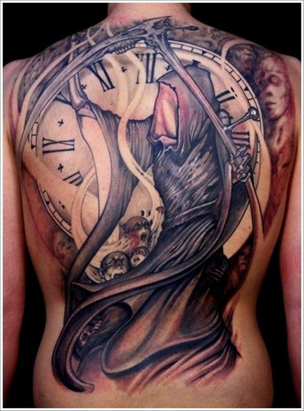 faa8b59c00c7d Large Clock And Grim Reaper Tattoo On Full Back