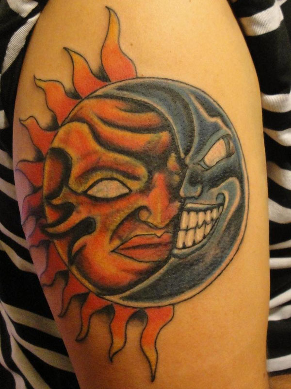 Laughing Moon And Sun Tattoo On Shoulder