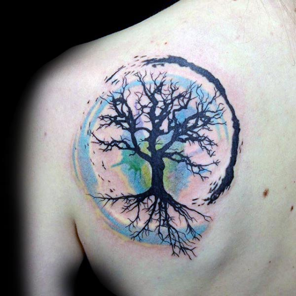 40405db9b Left Back Shoulder Tree Of Life Tattoo With Watercolors
