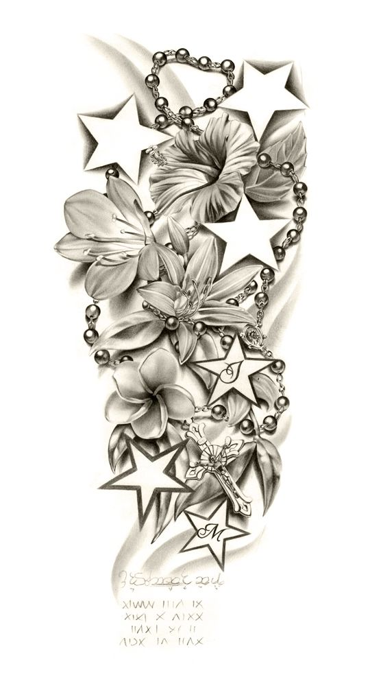 lily flowers and stars with rosary tattoo design. Black Bedroom Furniture Sets. Home Design Ideas