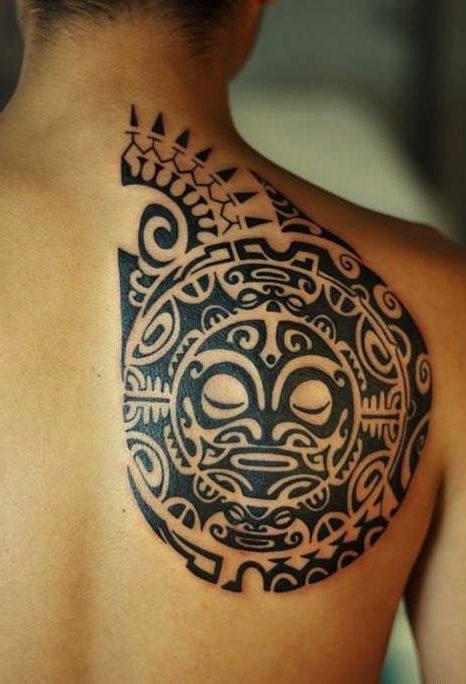 Maori Tribal Sun Tattoo On Right Back Shoulder