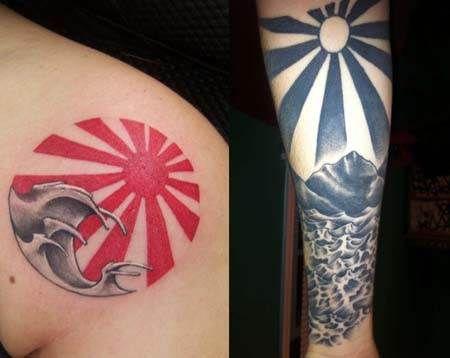 Matching Rising Sun Tattoos Ideas