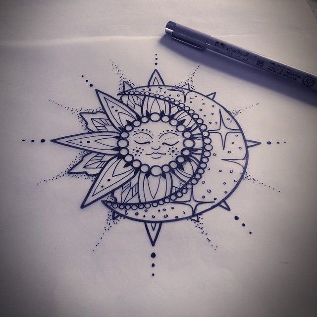 Moon And Sun Tattoo Design Sample