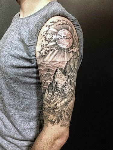 Mountains And Rising Sun Tattoo On Left Half Sleeve