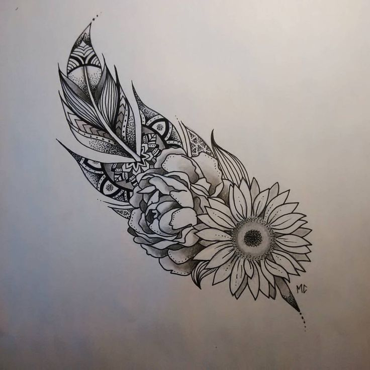 Nice Flower With Feather Tattoo Design
