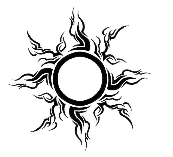 Nice Tribal Sun Tattoo Idea