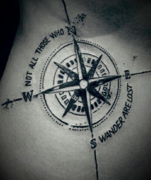 Not All Those Who Wander Are Lost Compass Tattoo