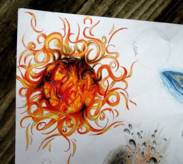 Orange And Black Ink Realistic Sun Tattoo Design
