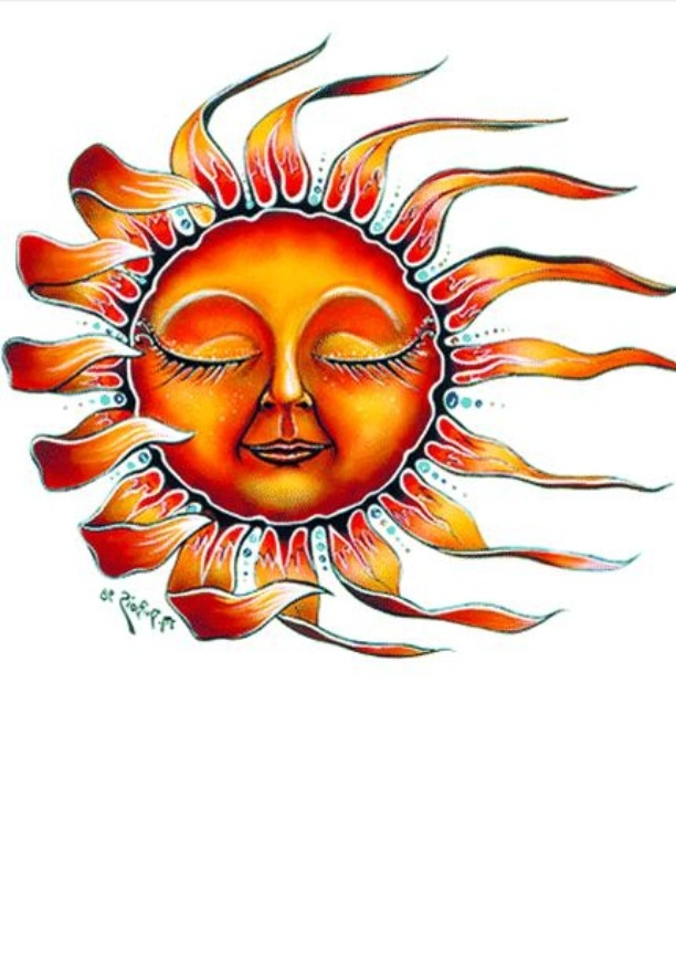 Orange And Yellow Sun Tattoo Design