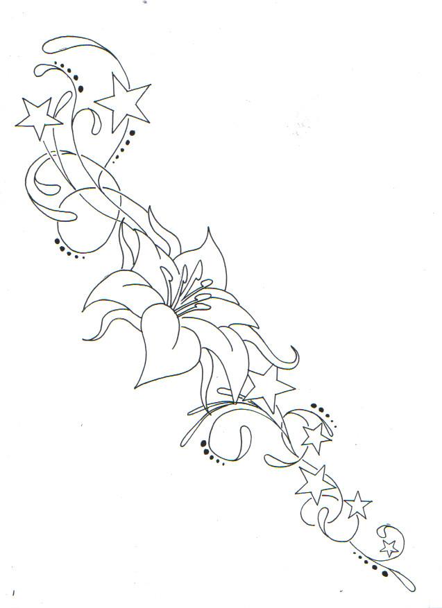 outline flower stars tattoos idea. Black Bedroom Furniture Sets. Home Design Ideas