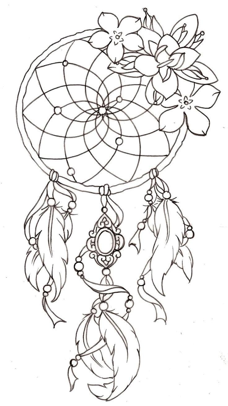 Tattoo Outline: Outline Flowers And Dreamcatcher Tattoo Design