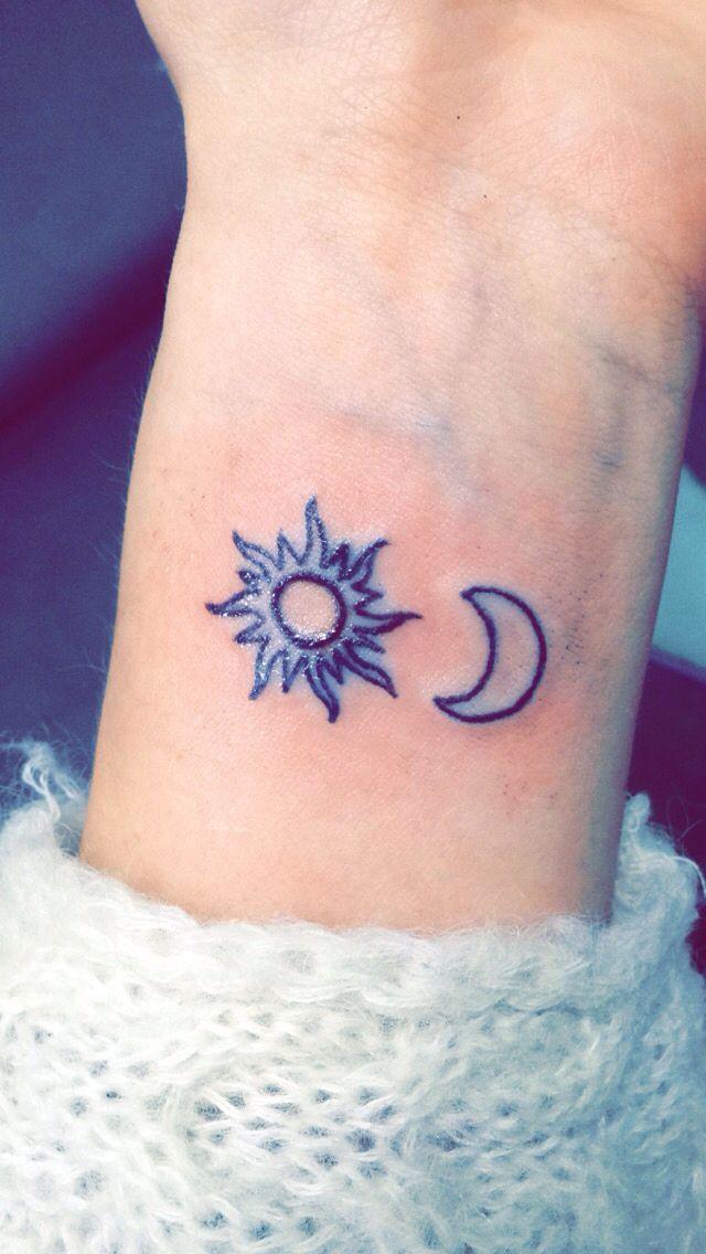 Outline Half Moon And Simple Sun Tattoo On Left Wrist