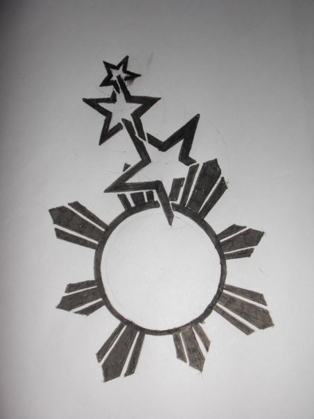 602418c4fb544 Outline Stars And Sun Tattoo Design by Radly