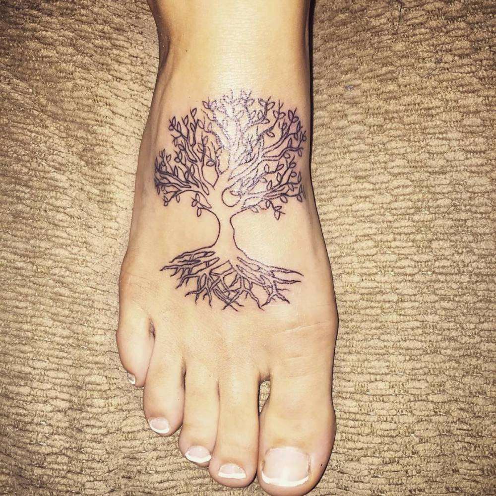 Outline Tree Of Life Tattoo On Right Foot