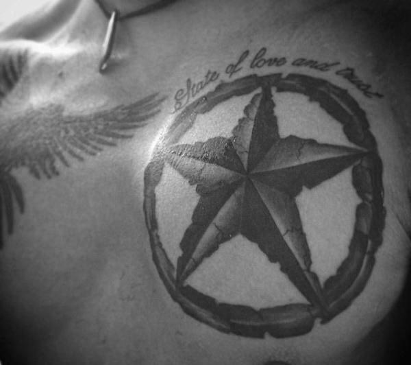 Pentagram Nautical Star Tattoo On Man Chest