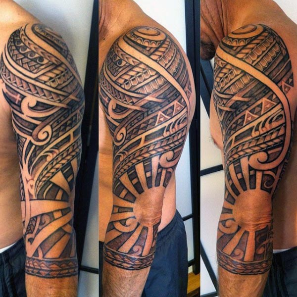 Polynesian And Rising Sun Tattoo On Left Sleeve For Men