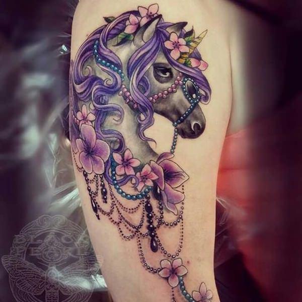 purple flowers and feminine unicorn head tattoo on right half sleeve. Black Bedroom Furniture Sets. Home Design Ideas