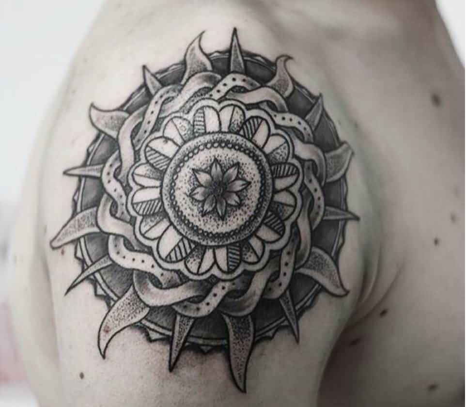 Realistic celtic sun tattoo on man shoulder for Realistic sun tattoo