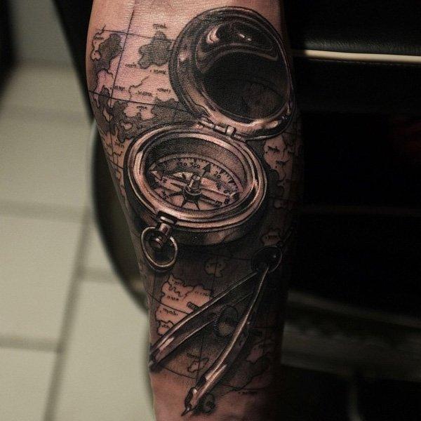 Realistic Compass Tattoo On Arm Sleeve